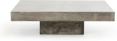 Limari Home Ellis Collection Modern Style Concrete Living Room Coffee Table, 12 Tall, Grey