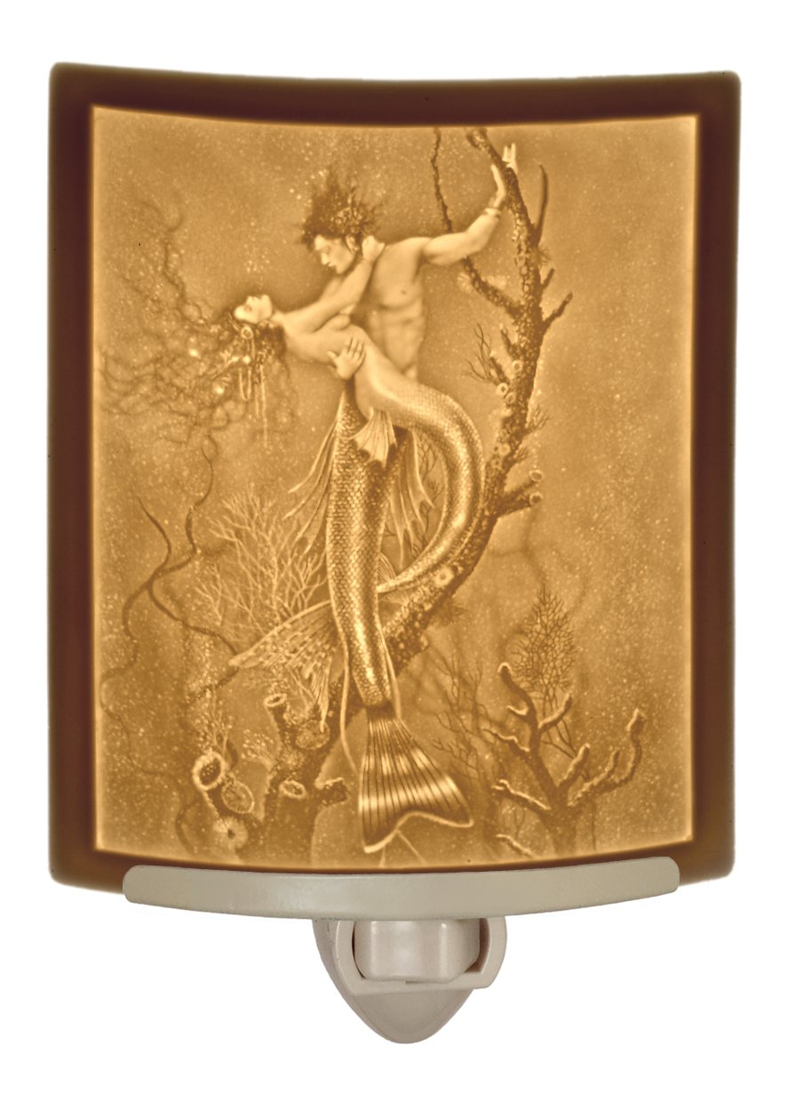Mermaid & Merman - Curved Lithophane Porcelain Night Light - Art by David Delamare by The Porcelain Garden (Image #1)