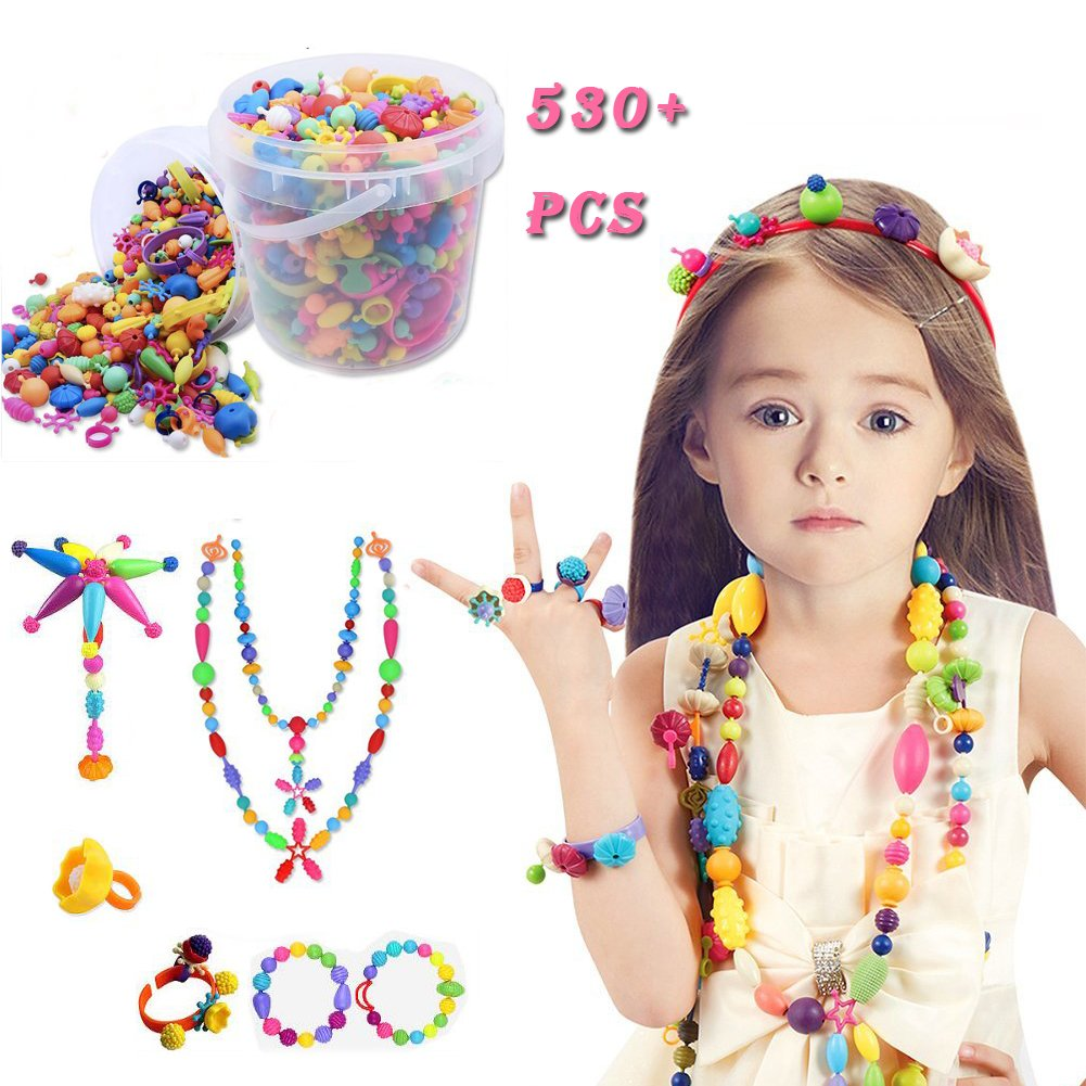 Gorse Pop Beads Set 530 PCS for Kids Toddlers Head wear Necklace Earrings Bracelets and Anklets Ideal Gift Idea for Christmas & Birthday