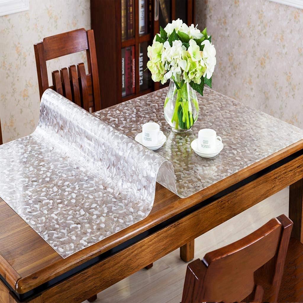洗えるテーブルクロス テーブルクロスpvc柔らかいガラス防水抗オイルコーヒーテーブルパッドパッド入り透明クリスタルテーブルmat0 * 140 cm (Color : F)  F B07SGNQ654
