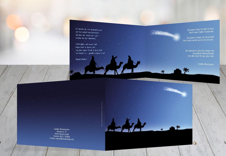 Kartenparadies Grußkarte Weihnachten Grußkarte drei hl. Könige, hochwertige Weihnachtsgrüße als Weihnachtskarte (Format  148x105 mm) Farbe  DunkelBlaumatt B01N21TWLP   Genialität    Maßstab ist der Grundstein, Qualität ist Säu
