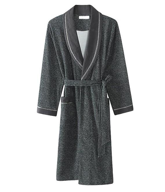 Albornoz de los hombres/camisón cómodo y casual/Pijama de manga larga de algodón/Otoño e invierno Ropa para el hogar (Color : Gray, Tamaño : Metro): ...