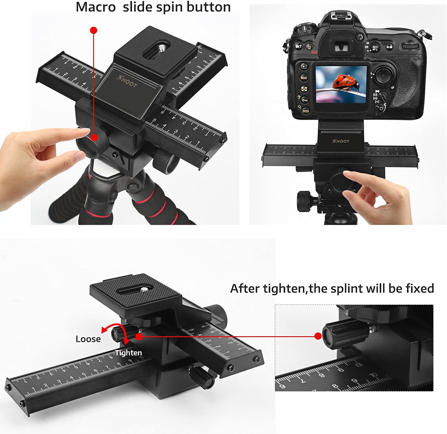 D/&F 4 Way Fousing Rail Slider Aluminum Macro Close-Up Stand for Canon Nikon Sony Pentax Olympus and Other DSLR Camera and DC with Standard 1//4 Screw Thread