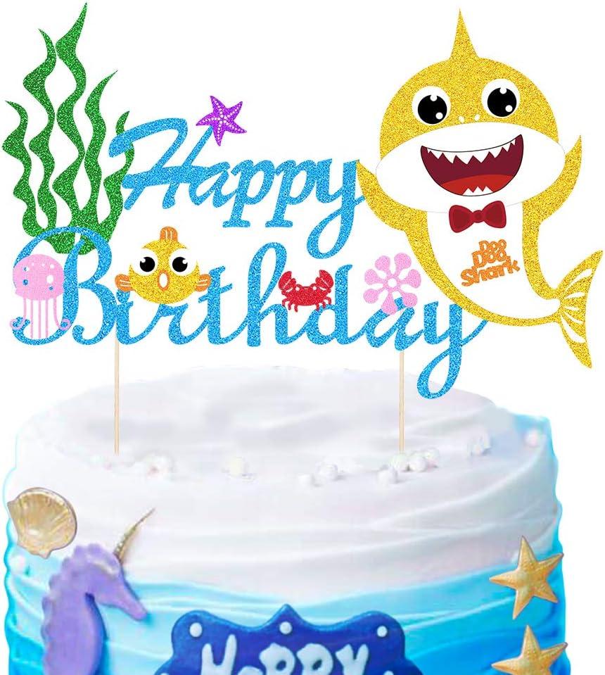 Mity rain Cute Shark Cake Topper Happy Birthday Cake Picks Cake Decorations for Baby Shower Birthday Party Supplies