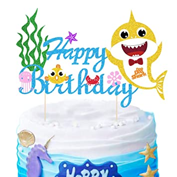 Marvelous Mity Rain Cute Shark Baby Cake Topper Happy Birthday Cake Picks Funny Birthday Cards Online Aboleapandamsfinfo