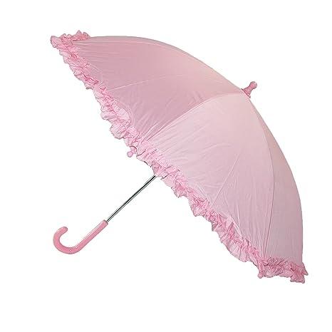 1ae06fe08f1f3 Amazon.com: iRain Kids Hook Handle Ruffled Umbrella, Light Pink: BeltOutlet