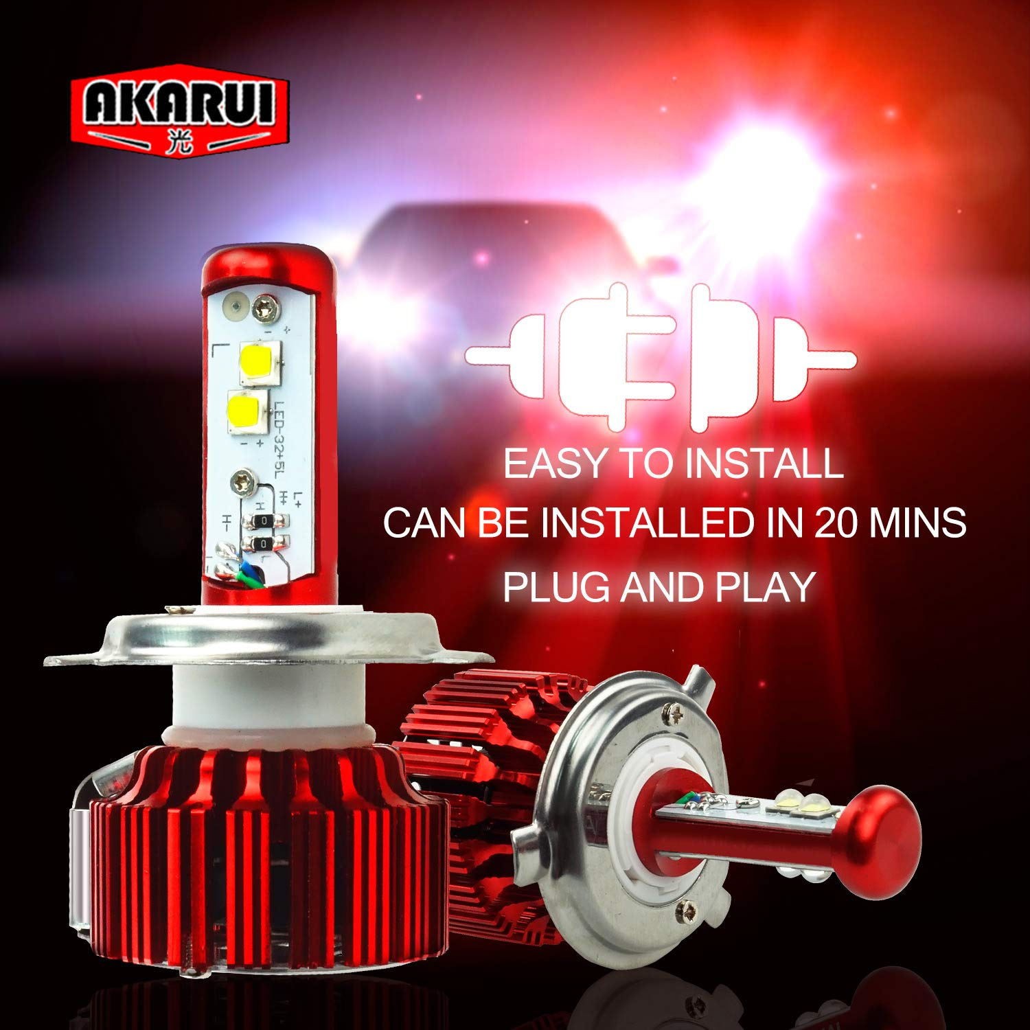 5.200 lumens H7 2-Year Warranty Akarui LED Headlight Bulbs Conversion Kit 6K Cool White CREE XHP70 LED Pair Single Beam
