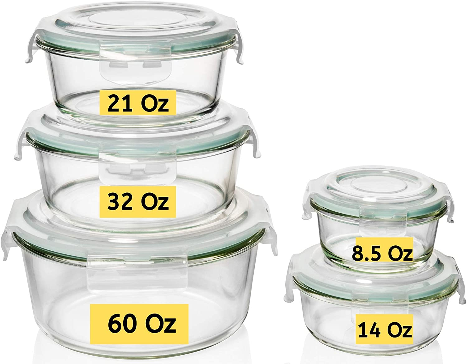 Razab 10 Pc (Set of 5) Round Glass Meal Prep Food Storage Containers with Airtight Locking Lids, For Storing & Serving Food. BPA Free & Leak Proof - Microwave, Dishwasher, Fridge, Freezer & Oven Safe