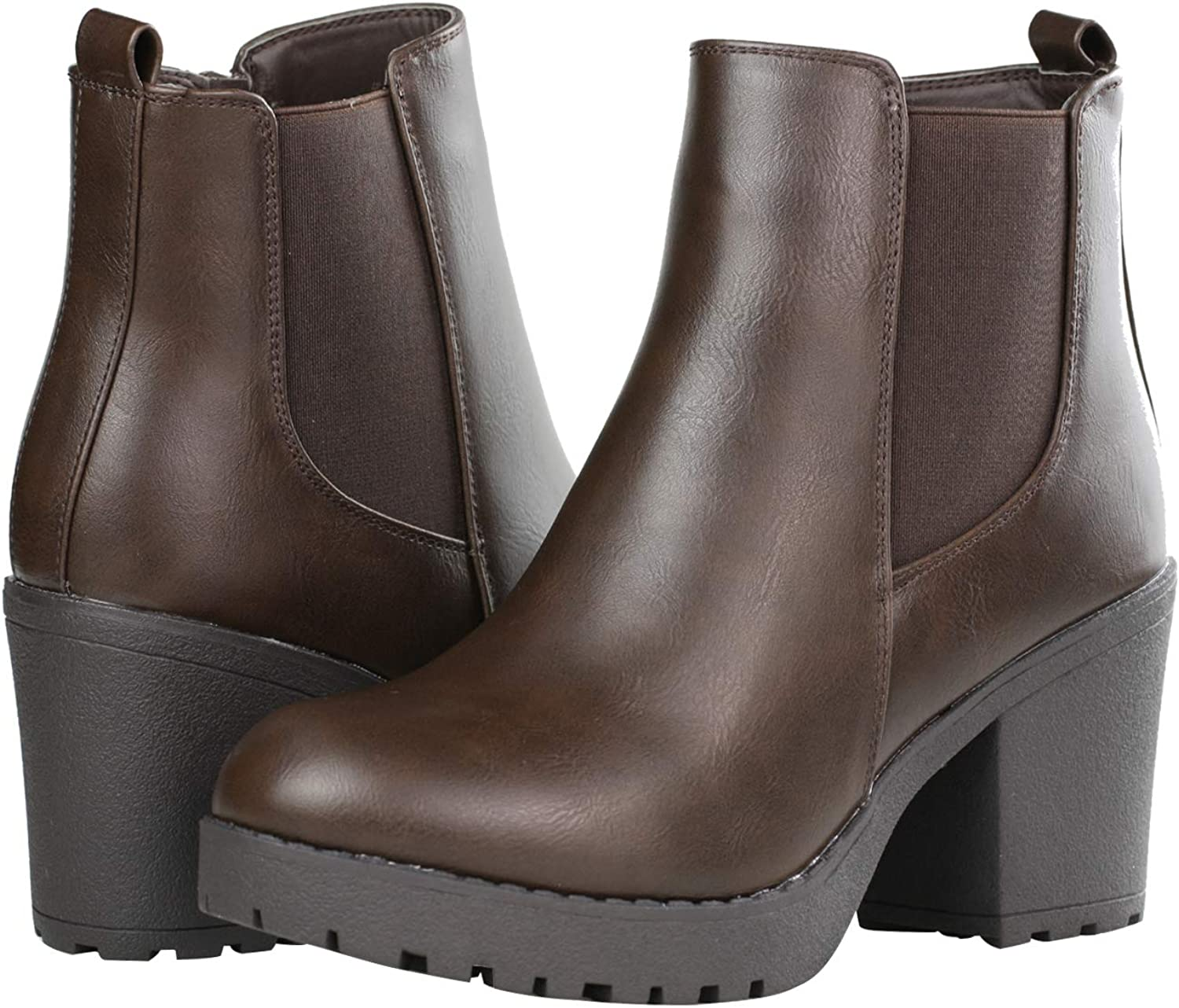Details about  /Womens Ladies Zip Up Buckle Ankle Boots High Block Heels Chunky Round Toe Shoes