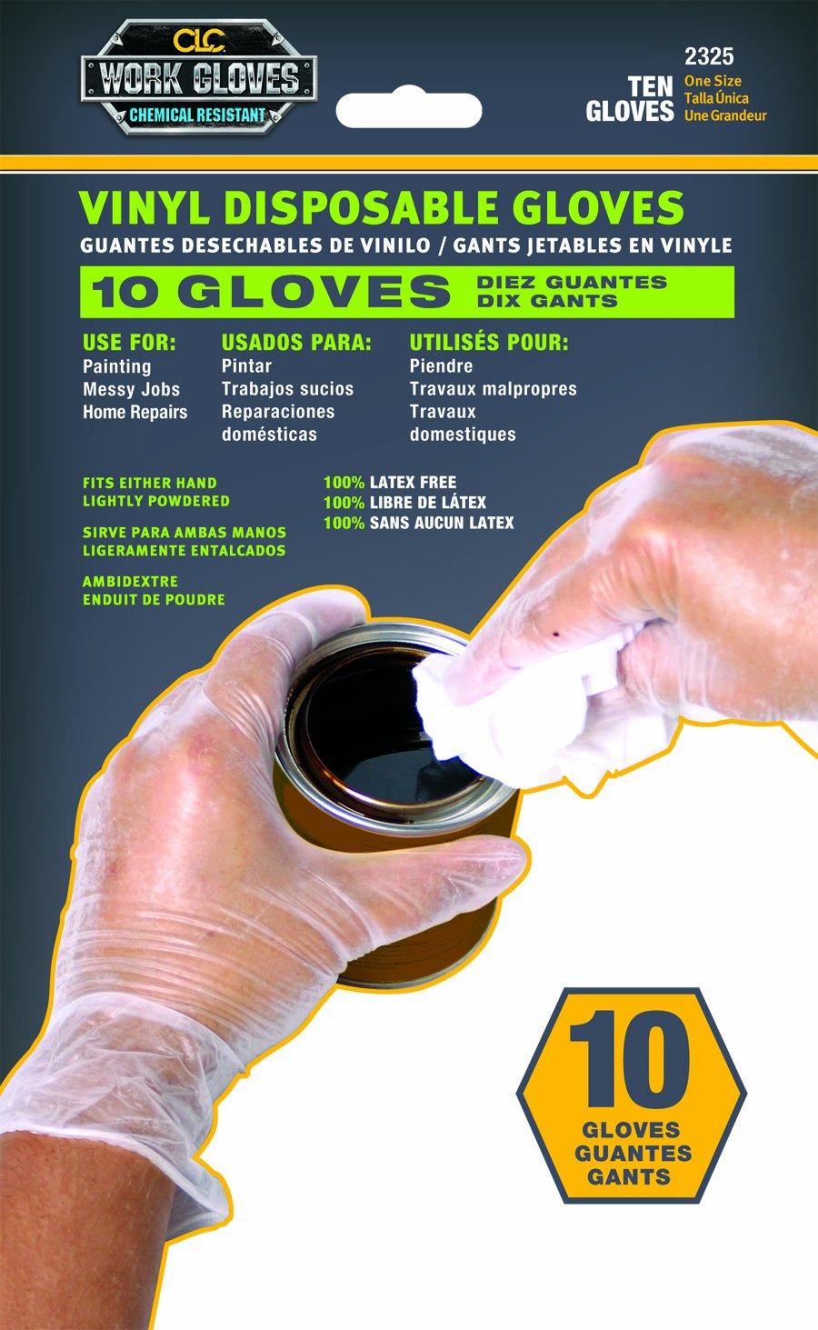 Custom Leathercraft 2325 Vinyl Disposable Gloves, Bag of 10