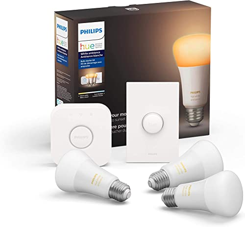 Philips Hue White Ambiance LED Smart Button Starter Kit, 3 A19 Smart Bulbs, 1 Smart Button 1 Hue Hub Works with Alexa, Apple HomeKit Google Assistant