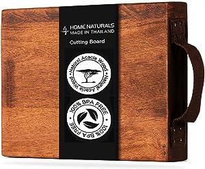 Home Naturals 100% Organic Wood Cutting Board with Cloth Handle - BPA Free - Butcher Chopping Board   Cheese Board   Bread Board   Steak board - 13