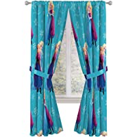 """Jay Franco Disney Frozen Swirl 84"""" Inch Drapes 4 Piece Set - Beautiful Room Décor & Easy Set Up, Bedding Features Anna & Elsa - Window Curtains Include 2 Panels & 2 Tiebacks (Official Disney Product)"""