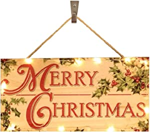 Hunputa Best Wishes | Merry Christmas | Wreath Embellishment or Hanging Signs | Wood Hanging Door Signs with Light
