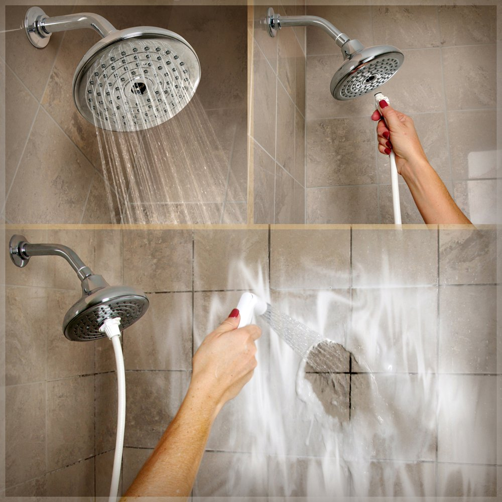 Rinse Ace 2 in 1 Convertible Rainfall Showerhead  Tahoe Satin Nickel Fixed Showerheads Amazon com