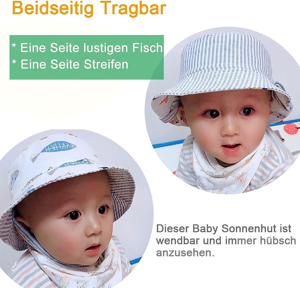 Beidseitig Tragbar Wende-Hut UV-Schutz 50 iiSPORT Baby Sonnenhut Fisherhut
