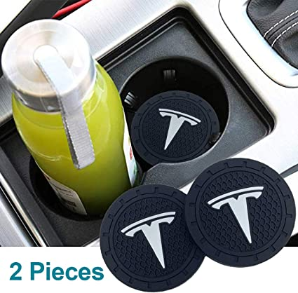 Auto sport 2.75 Inch Diameter Oval Tough Car Logo Vehicle Travel Auto Cup Holder Insert Coaster Can 2 Pcs Pack Fit Tesla Accessory