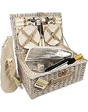 ELITEHOUSEWARES - Cestino da pic nic in vimini per 4 persone, con scompartimento frigorifero e borsa firgo per tenere al fresco le bottiglie