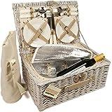 Elitehousewares – Cesta de mimbre para pícnic, 4 personas, con compartimento frigorífico y bolsa térmica para botellas