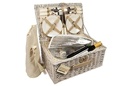 Luxury 4 Person Wicker Chiller Picnic Hamper Basket With Cooler Compartment and Bottle Cooler Bag