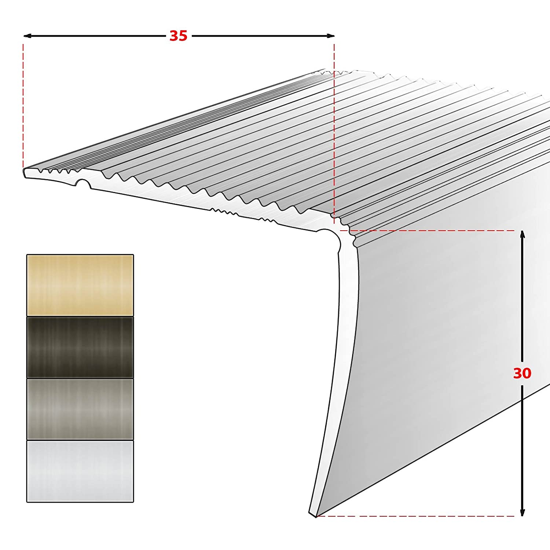 Breite 35 mm 134 cm eloxiert Champagner L Form Alu Stufenkantenprofil Integral selbstklebendes Treppen Profil