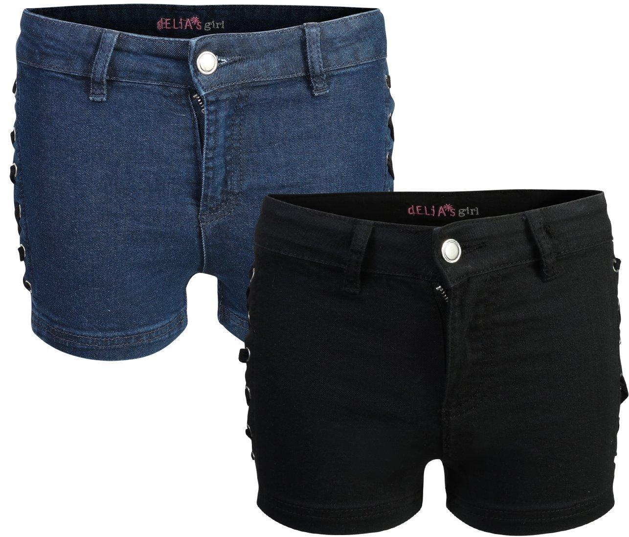 dELiA*s Girl's Denim Twill Shorts (2 Pack), Black & Blue, Size 12'