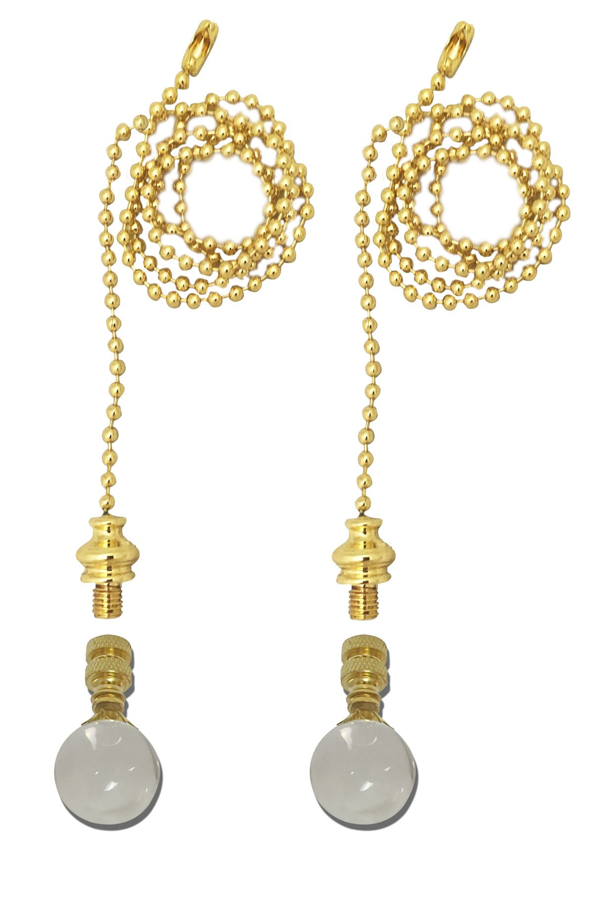 Royal Designs Fan Pull Chain with Large Clear Crystal Finial - Polished Brass - Set of 2