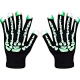LED Skeleton Gloves ZOETOUCH Finger Lights 6 Modes Rave Gloves Party LED Lighted Gloves For Halloween Costume Christmas Dance Dubstep Party Birthday