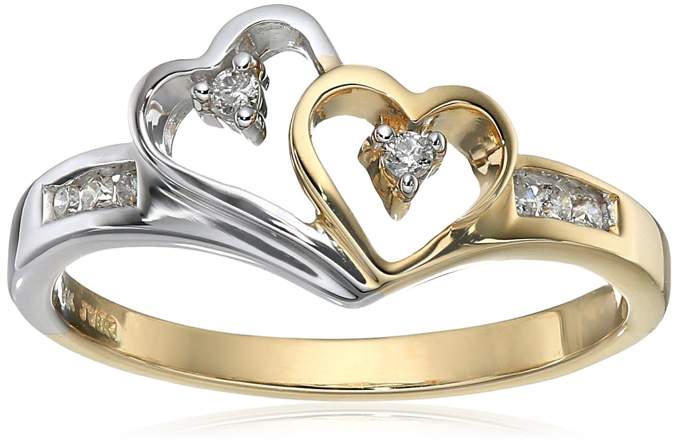 14K Yellow Gold and White Gold Diamond Heart Ring (1/10 cttw), Size 8