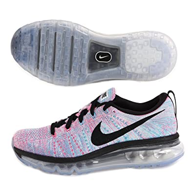 new style 7d78c b4252 Amazon.com   NIKE Women s WMNS Flyknit Max, White Black-Chlorine Blue-Pink  Blast, 10.5 M US   Road Running