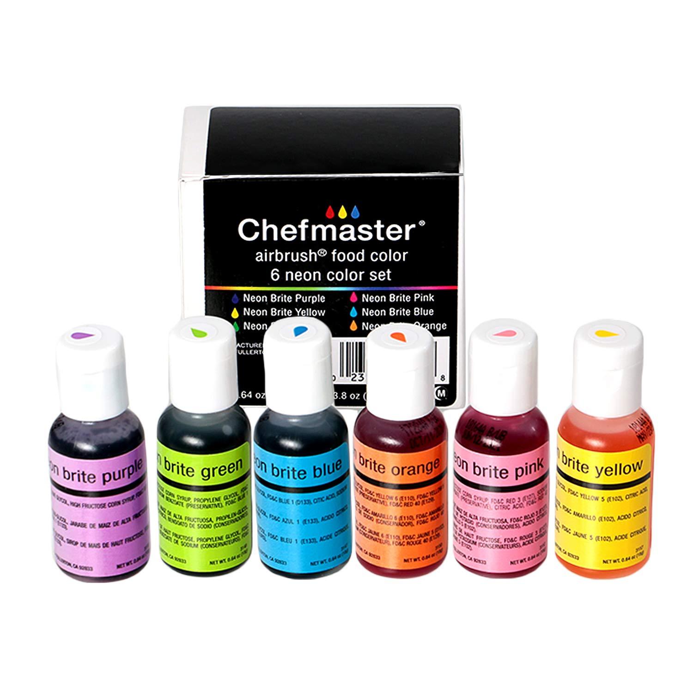 Chefmaster Airbrush Color Set (6 Pack), Neon Airbrush Food Coloring Set,  Halal & Vegan Cake Decorating Kit, 6 Neon Easter Egg Colors, Airbrush Food  ...