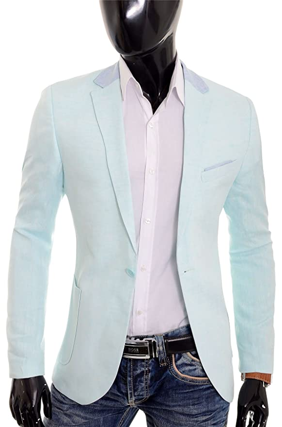 D&R Fashion Cipo & Baxx Mens Linen Blazer Jacket Casual Formal Elbow Patches Slim Fit Summer at Amazon Mens Clothing store: