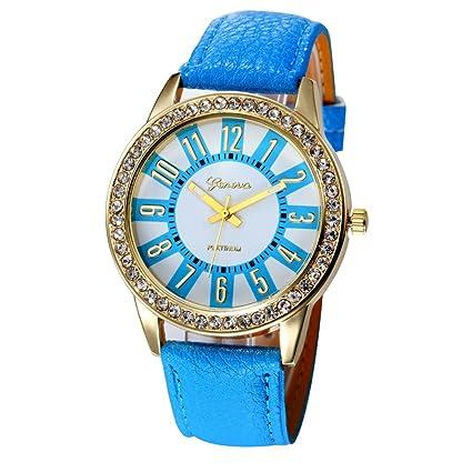 Relojes Mujer,Xinan Reloj Cuarzo Acero Inoxidable Analógico PU Cuero (Azul)
