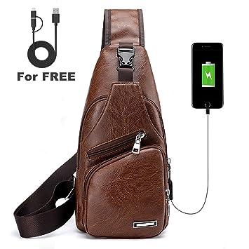 0220fd69fc3e6 ElkIsComing Sling Bag Brust Tasche mit USB Ladeanschluss Umhängetasche PU- Leder für Männer Frauen Leichter