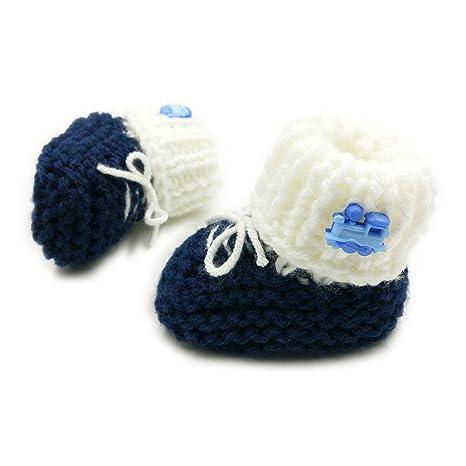 Botines para bebé recién nacido, hechos a mano, diseño de chaqueta, color azul