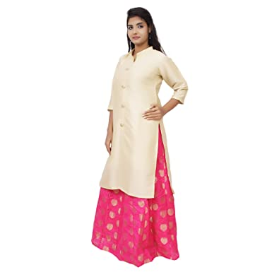 978c65632a5 Kieana Women's Indo western Beige Chanderi Kurti/Kurta with Silk Zari Skirt/Lehenga/  Dress/Kurta Skirt Combo: Amazon.in: Clothing & Accessories