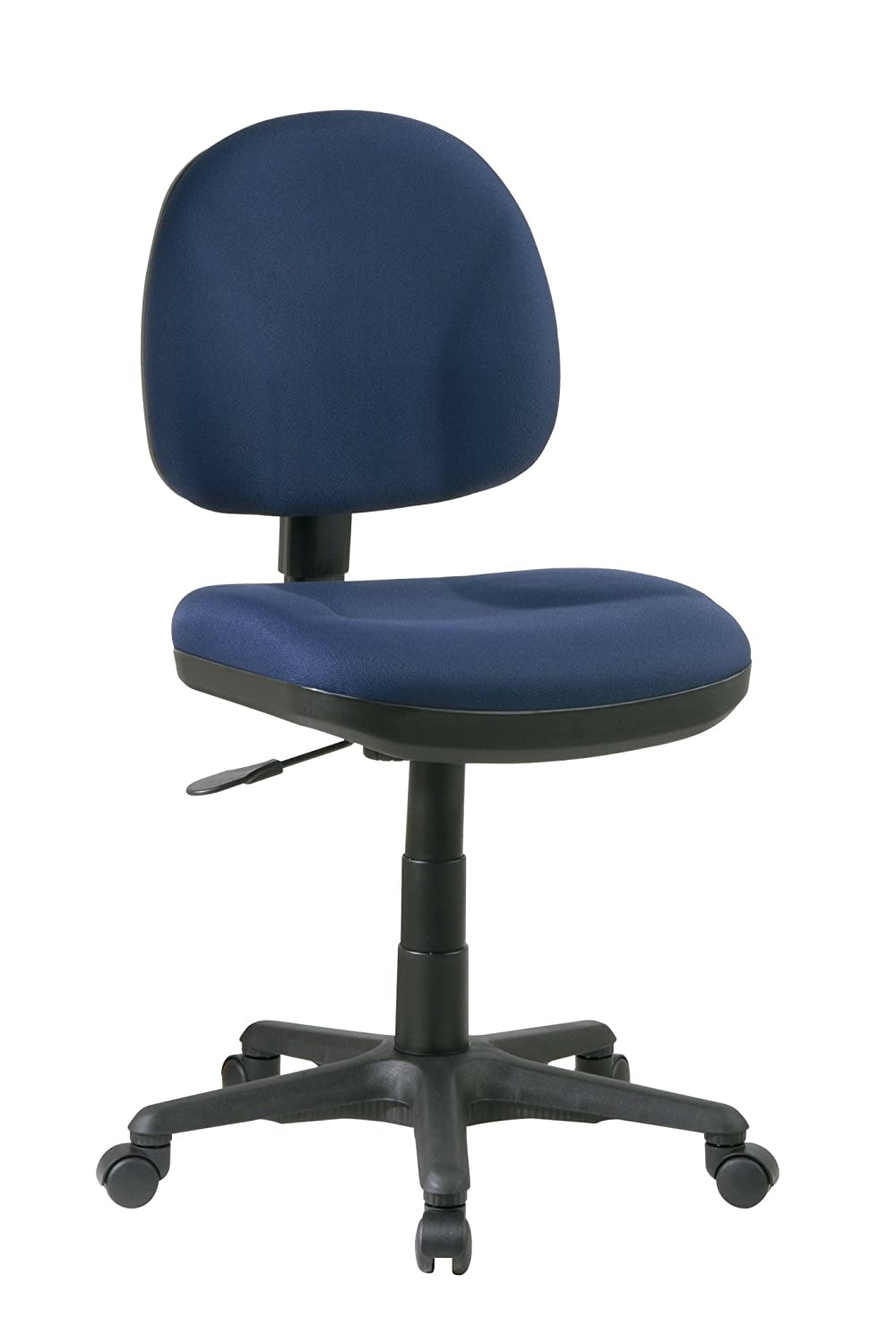 Office Star Sculptured Thick Padded Seat and Back with Built-in Lumbar Support Task Chair without Arms, Navy