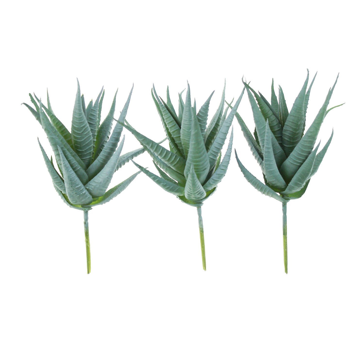 Goodma 3 Pieces Realistic Artificial Aloe Faux Succulent Textured Spiky Green Haworthia Cactus Plants Unpotted (Light Green)