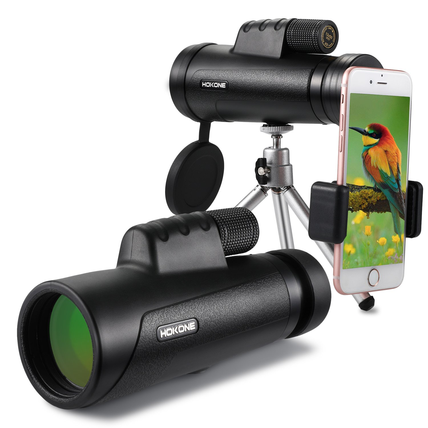 HD Photography Prism Monocular Telescope with Tripod & Smartphone Mount for Bird Watching,Scenery Shooting,Ball Games Concerts Watch,Adult Spy,Backpacking Wildlife Hunting and etc - 12x50 by Hokone