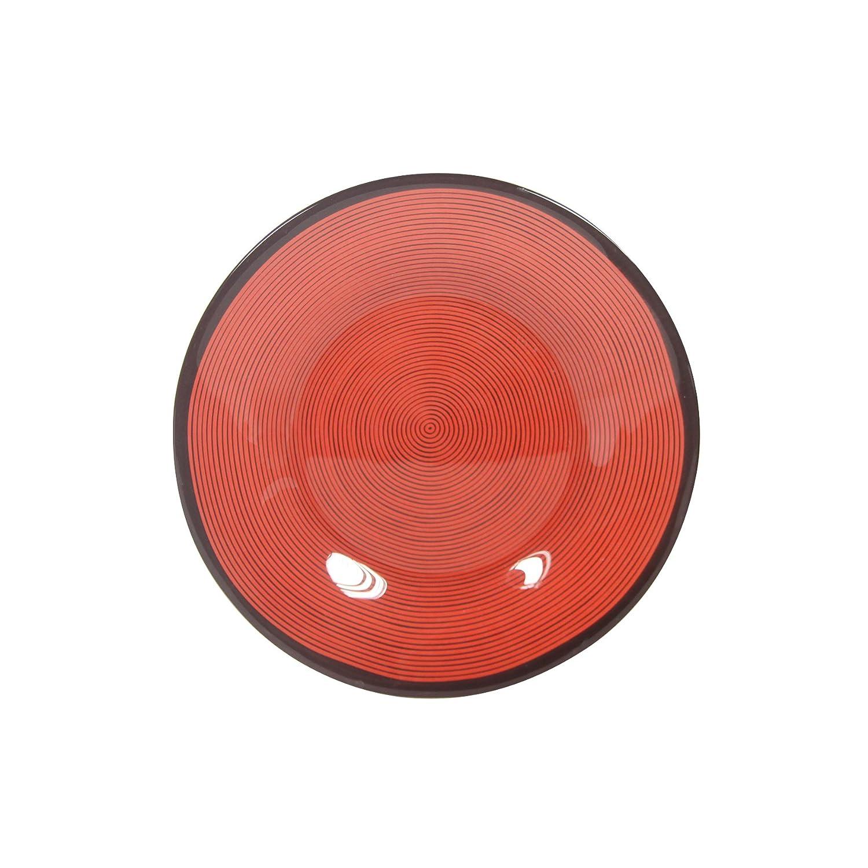 Novastyl 8020299Hypno–Set di 6piatti dessert Hypno in vetro diametro 20cm-8020299vetro rosso 19, 4x 1, 8cm 6unità (S)