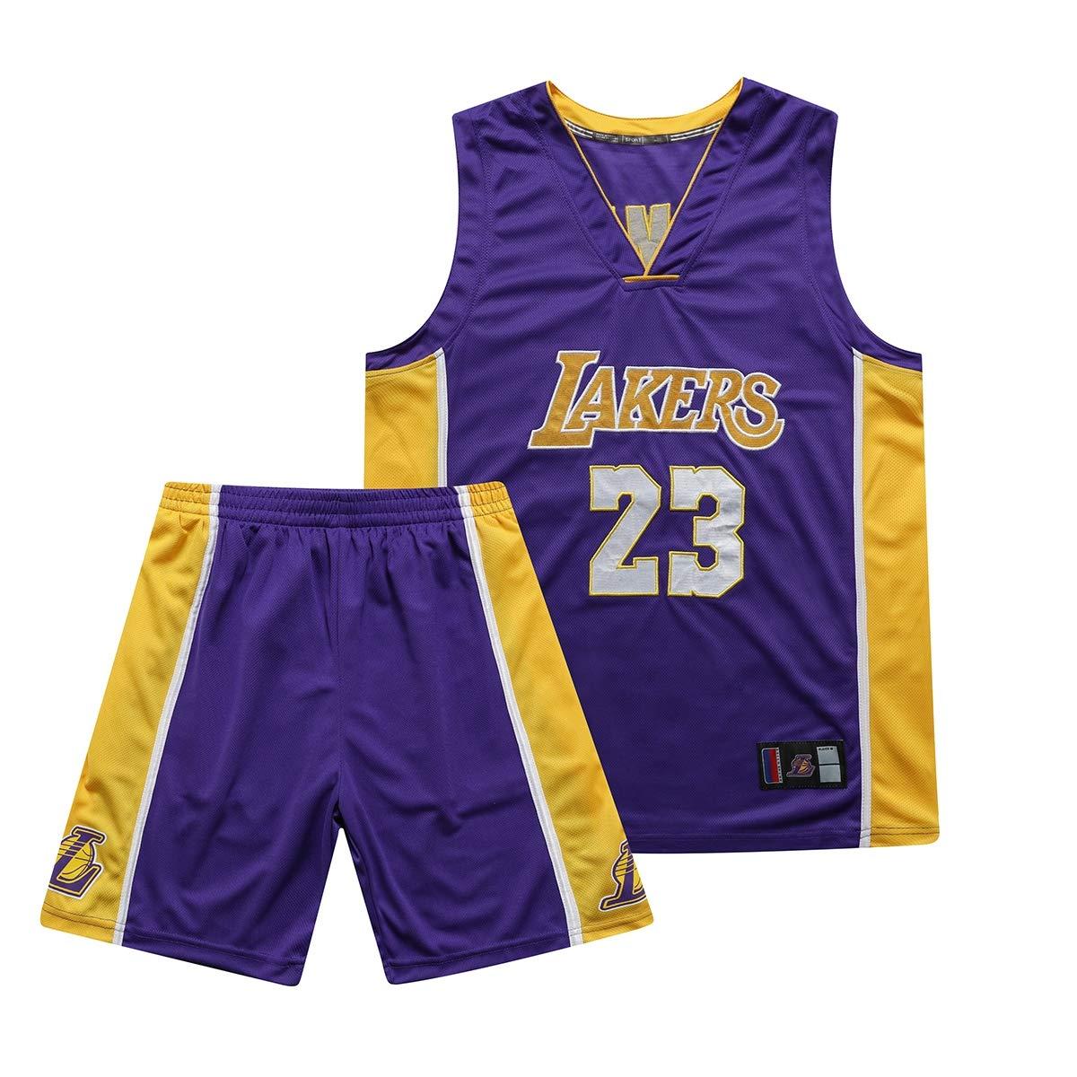 QZH NBA Bambini//Giovani//Adulti 8-20 Anni Los Angeles Lakers 23 Maglia Lebron James Ricamo