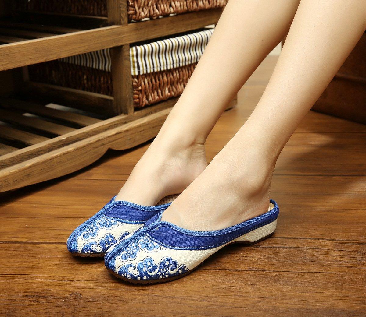 &hua Porcelaine bleue et blanche Chaussures brodées, semelle de tendon, style ethnique, flip flop féminin, mode, confortable, sandales