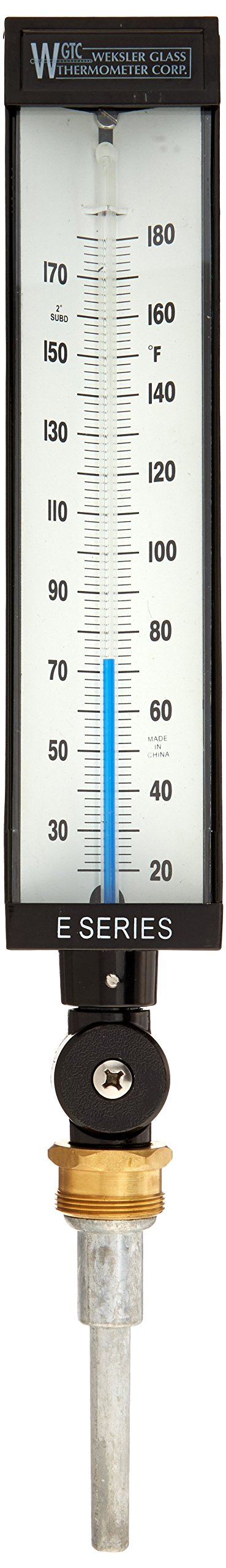 PIC Gauge AS5H9EA-CC 9'' Scale, 3-1/2'' Stem Length, 20/180° F Temperature Range Eco-Red Spirit Filled Industrial Thermometer with Aluminum Case, and Adjustable Angle