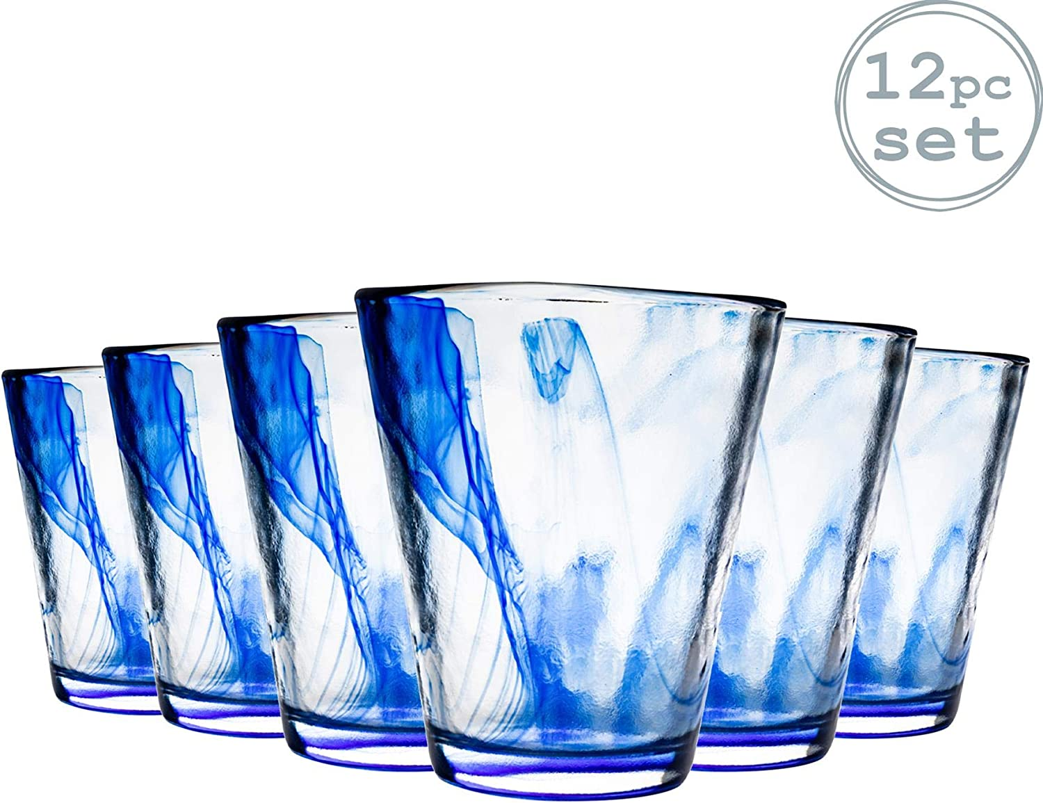 Bormioli Rocco Murano Coloured Highball Cocktail Glasses Set 430ml Blue Pack of 12
