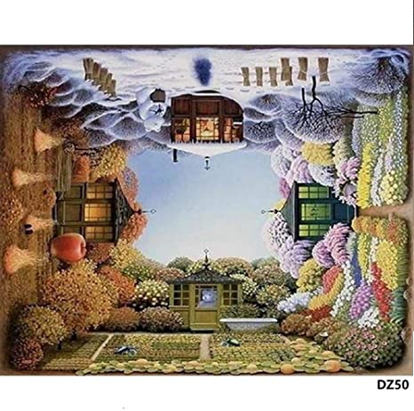 CaptainCrafts New DIY Oil Painting Children Linen Canvas Tree Lined Path with Frame Beginner Kids Paint by Numbers Kits 16x20 for Adults