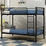 JURMERRY Bunk Bed Metal Frame Twin Over Twin with Slat & Ladder Hevay Duty Steel Bed Frame(Black)