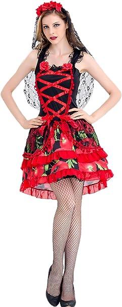 Lecoyeee Disfraz De Señorita del Día De los Muertos Disfraz de ...