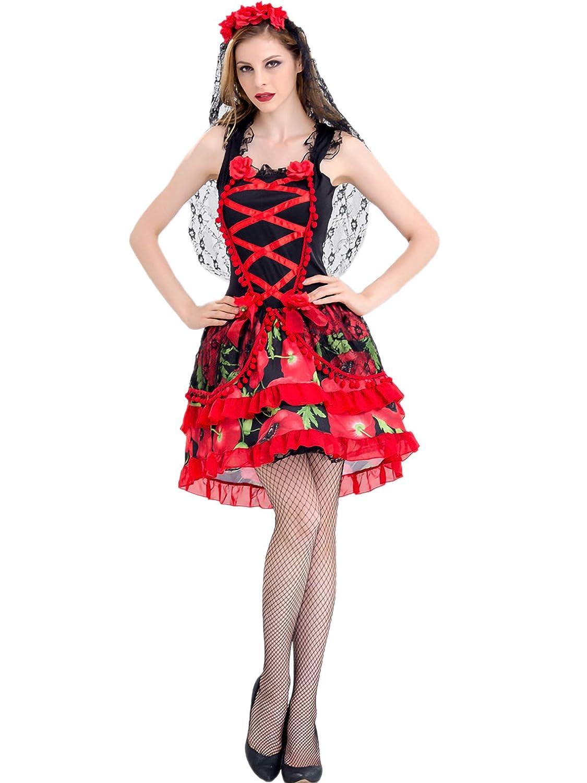 Lecoyeee Disfraz De Señorita del Día De los Muertos Disfraz ...