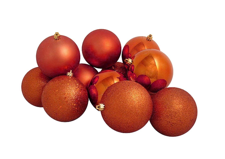 Vickerman 16ct Burnt Orange Shatterproof 4-Finish Christmas Ball Ornaments 3'' (75mm)
