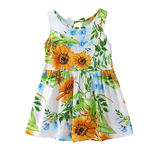 cd716b45e52f8a Tootu Children Kids Girls Lemon Cartoon Print Bowknot Casual Princess Dress  Clothes (Size 90=